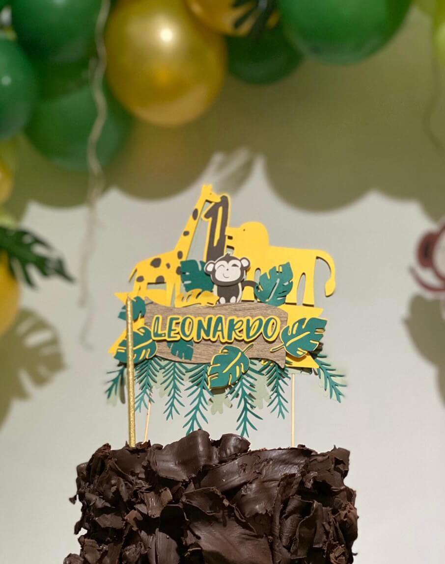 cake topper personalizzato, tema jungle